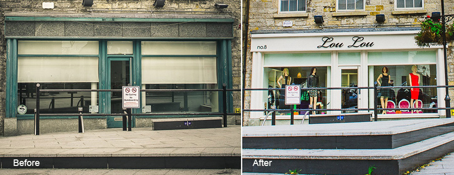 Lou Lou Boutique before & after redesign